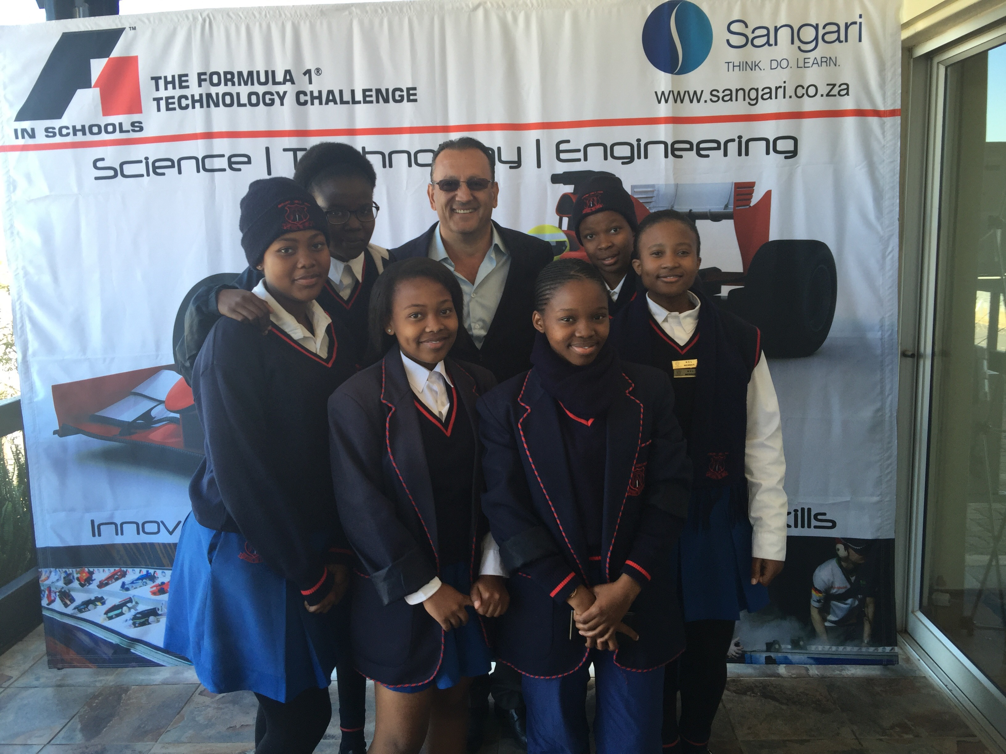 Bez Sangari with group of participating girls