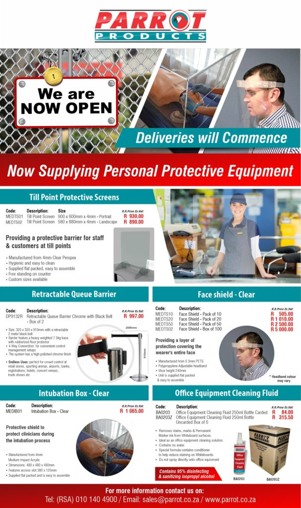 Parrot Products Now Open eFlyer 2020 Covid 19 002